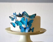 Wedding Cake Topper Edible Butterflies Assorted Blue-  set of 15 - Cake & Cupcake Toppers - Food Decoration Wedding Cake Decoration