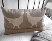 hand printed kissing pheasants cushion cover