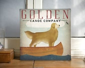CUSTOMIZE Golden Dog Canoe Company Golden Retriever Gallery Wrapped Cannvas 12x12x1.5 Signed