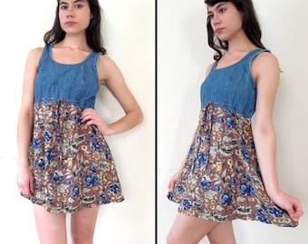 SALE//Vintage DENIM & FLORAL Grunge Mini-Dress S