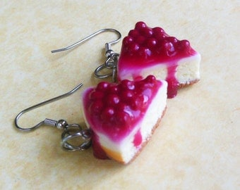 cherry cheesecake slice polymer clay earrings