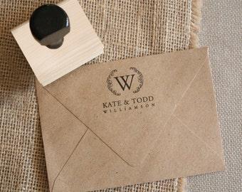 Custom Monogram Stamp - YOUR CUSTOM WORDING - Wreathe