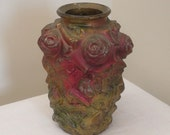 Vintage Goofus Glass Vase with Roses and Leaves