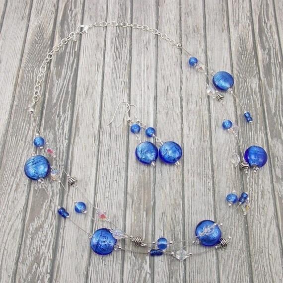 Necklace & Earring Set - Silver Lined Royal Blue 3-Strand - Cobalt