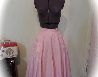 Vintage Skirt 50s Pink Full Skirt with Puff Flower design Circle Swing Skirt S Sm - on sale