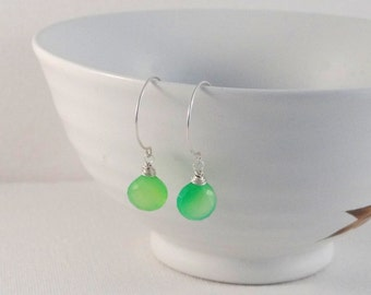Apple Green Chalcedony Earrings on Sterling Silver