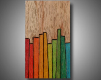 """Small Affordable Art, Modern Abstract Original Design Woodburned onto Oak and Colored with Prismacolor Pencil, """"Stages"""" 3.5"""" x 6.5"""""""