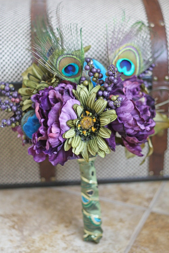 Peacock Wedding Bridesmaid Bouquet - Handmade Keepsake Bridal Party Bouquets - Made to Order
