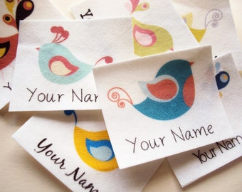 Kids Name Tags - 40 personalized iron on name labels with birds