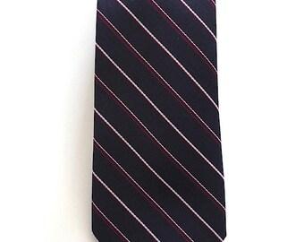 Vintage Neckties Men's 80's Striped Skinny Tie, Navy Blu by Present