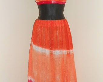 Orange and Strawberry Sherbert Tie Dye Halter Top and Skirt Set- 015