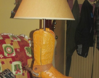 Vintage Western All Leather Boot Desk Lamp with 5 point Rowelled 1950 Spur