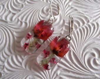 Ombre Pink Boronia,Pink Heather Pressed Flower Glass Rectangle Earrings-Spring Tulips-Nature's Art-Symbolizes Admiration-Gifts Under 25