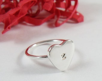 Personalized Initial Heart Ring Sterling Silver