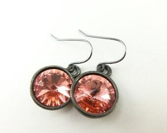 Peach Drop Earrings Swarovski Crystal Earrings Dark Silver Gunmetal Dangle Earrings Summer Peach Jewelry