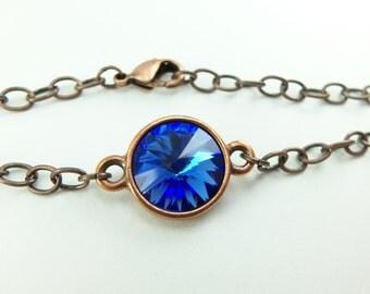 Sapphire Birthstone Bracelet Copper Chain Bracelet Crystal Rivoli September Birthstone Bracelet Sapphire Jewelry