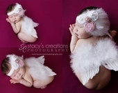 Baby Angel wings, in white Ready to ship. Great newborn photography prop
