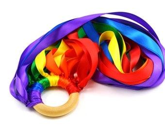 Hand Kite Rainbow Ribbon Streamer Double Rainbow