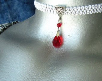 Red Preciosa Crystal Drop Pendant Ribbon Choker Necklace -- Customizable