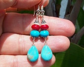 Turquoise and Coral teardrop earrings, Bali sterling silver