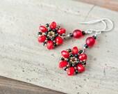 Bright Poppy Red Earrings, red earrings, red flower earrings, Beadwoven Red and black crystal flower dangle earrings, sterling silver