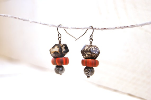 Stone Modern Art Jewelry Earrings- Natural Artistic Stone, Gray Ceramic, Orange Polymer Clay Gypsy Trade Beads and Gunmetal