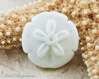 Large Sand Dollar Focal, Handmade Lampwork Bead, Beach, Etched Cream Ivory Glass