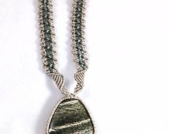 Green Spark Jasper Macramé Necklace