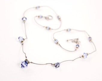 Blue Gray Crystal Float Necklace, Sapphire Swarovksi, Silk Cord