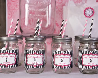 Water Bottle Labels - Baby Shower Decorations - Mom to Be Theme in Hot Pink & Zebra (12)