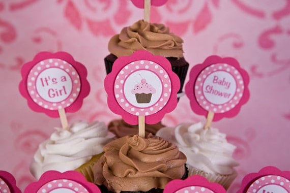 Sugar and Spice Cupcake Theme Cupcake Toppers - Baby Girl Baby Shower ...