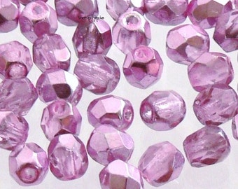 Mirror Pink, Czech Beads Fire Polished 4mm 50 Faceted Round GLass