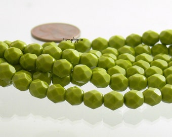 Opaque Avocado, Czech Beads Fire Polished 6mm 25 Faceted Round GLass