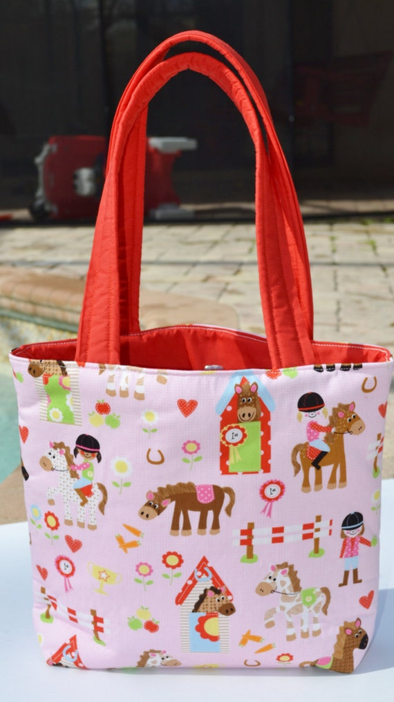 Tote Bag / diaper bag / baby bag / handmade diaper bag - Cute Horse Fun