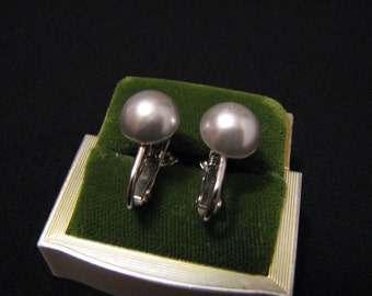 Vintage Silver Tone and Silvery Faux Pearl Clip Earrings