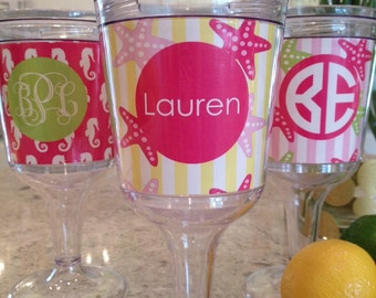 Personalized 11oz Acrylic Wine Glass--Palm Beach Collection
