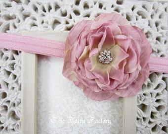 Mauve Pink Flower Headband - Mauve Pink Silk Rose w/ Rhinestone Center Mauve Headband or Hair Clip, The Camille, Baby Child Girls Headband