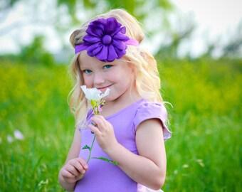 Purple Flower Headband, Satin Flower Headband or Hair Clip, Baby Toddler Child Girls Headband