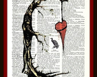 Buy Any 2 Prints get 1 Free You Hung My Heart  Vintage Dictionary Art