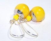 Yellow Balls Drop EArrings.  Clearance Sale.
