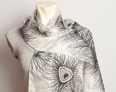 Present Elegant Hand Painted Silk Scarf  Black and White Peacock Feathers 13 X 51 Wedding Mother Days Present READY TO Ship