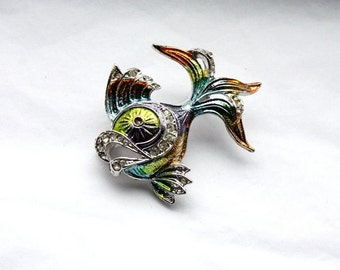 Vintage 1950s Brooch // 50s 60s Colourful Fish Brooch with Rhinestones // Hand Painted Enamel Brooch