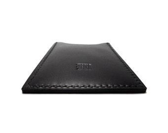 Black Leather Card Case / Personalized Monogrammed / Vertical Leather Card Holder / Black / Handmade by Sakao