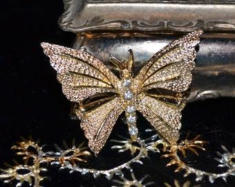Vintage Gerry's Rhinestone Butterfly Brooch