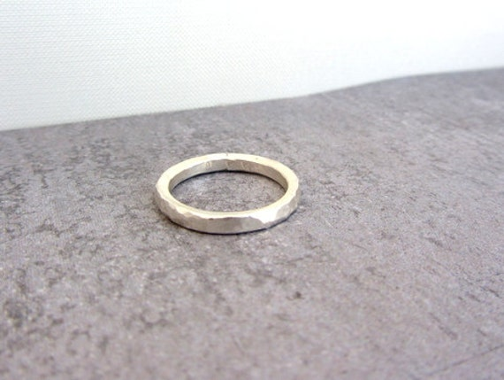 Simple hammered textured sterling silver stack band ring, eco friendly jewelry.
