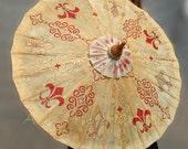 Handpainted parasol, gold & red Fleur de Lis