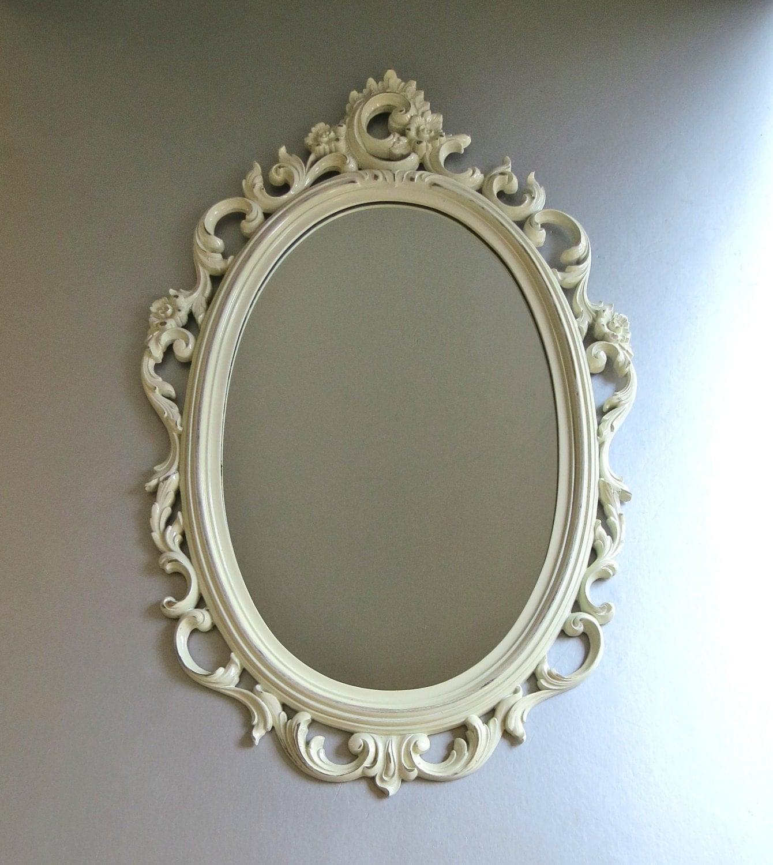 Vintage syroco mirror white mirror ornate mirror by swede13cottage