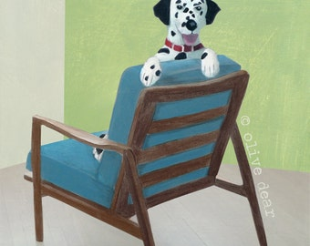dalmation on mid century chair - fine art pigment print