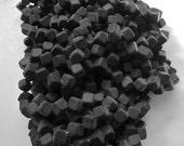 100 Corner-Drilled Bead -  Czech Glass  - Matte Black - 8 mm - 2.2 oz