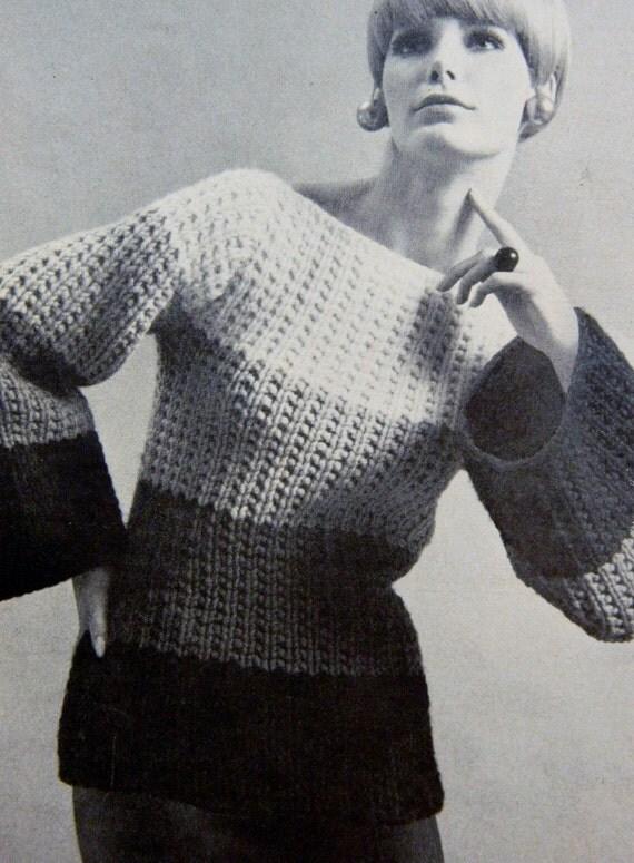 Bulky Sweater Knitting Patterns : Womens Knit Sweater Pattern Bulky Knit PDF Pattern by MsBobbies